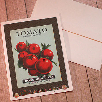 "Tomato Seed Label 4.25"" x 5.5"" Thinking of You Card"