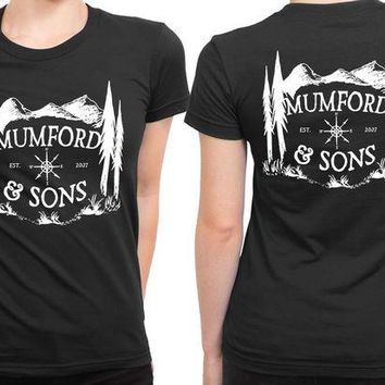 ONETOW Mumford And Sons Logo Est Mountain Background 2 Sided Womens T Shirt