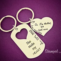 She stole my HEART... So I'm stealing his last name - Hand Stamped Stainless Steel Keychain Set - Couples Engagement - Custom Wedding Date