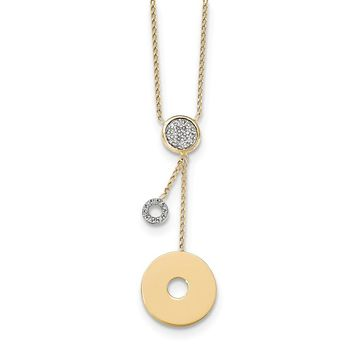14K Yellow Gold Diamond Circles W/1In EXT Necklace