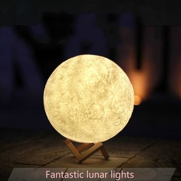 3D Print Creative LED Moon light Highly simulated lunar shape rechargeable night light 3 kinds of light color transformation (Size: 13 cm)
