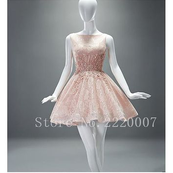 Pretty Scalloped Short Evening Short Mini Chiffon Cheap Short Prom Gown Crystal Ball Gown Backless Cocktail Dress