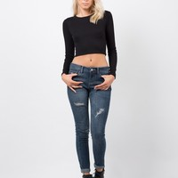 Distressed Crop Skinny Jeans