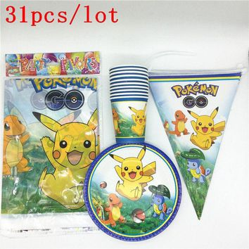 Kids Favors  Go Cartoon Napkins Baby Shower Party Plates Cups Tablecloth Gift Bags Birthday Decoration Supplies 31PcsKawaii Pokemon go  AT_89_9