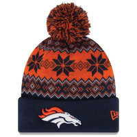 Denver Broncos New Era Snowburst Knit Beanie - Navy/Orange
