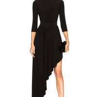 Norma Kamali Reversible Diagonal Flared Dress in Black | FWRD