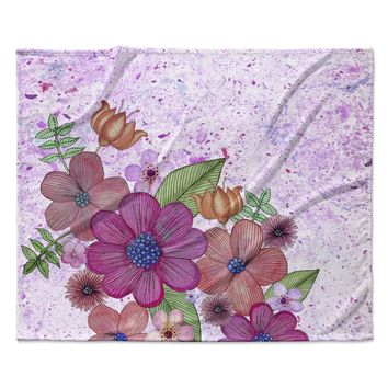 "Julia Grifol ""My Garden In Pink"" Magenta Floral Fleece Throw Blanket"