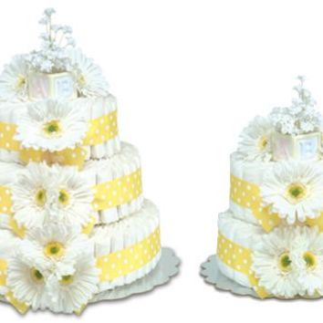 Bloomers Yellow Daisies with Polka Dots Baby Diaper Cake