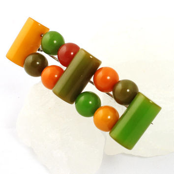 Multi Colored Bakelite Geometric Brooch - 1940s Vintage Pin - Investment Piece