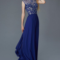 G2120 High Neck Beaded Sheer Illusion Chiffon Prom Dress Evening Gown