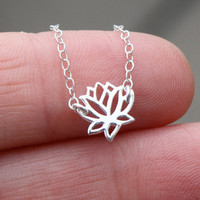 Tiny lotus flower necklace - sterling silver lotus flower charm . sterling silver chain . simple, minimal yoga jewelry