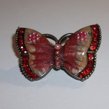 Vintage Butterfly Enameled Pink Pearl & Red Crystal Silver Tone Brooch