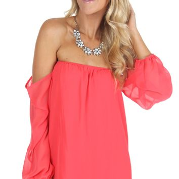 The Off Shoulder Top Coral