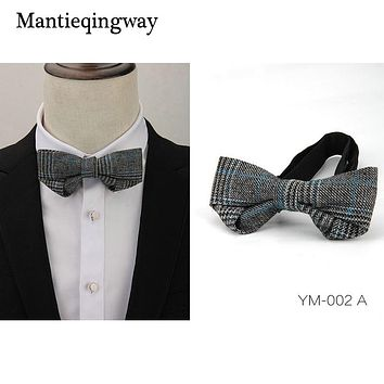 New Designer Wool Polyester Bow Tie For Mens Neckties Plaid Printed For Wedding Suit Wedding Bow Tie Cravats