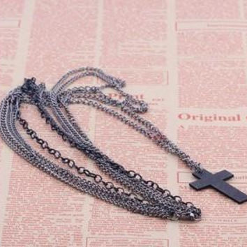 Multilayer Cross Necklace Pendant Long