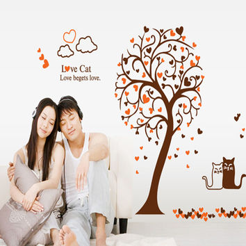 The tree Love cats bedroom TV wall post the sitting room TV setting wall, wall stickers stickers SM6