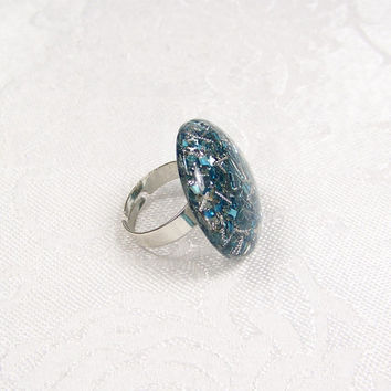 Upcycled Ring Confetti Statement Cocktail Ring OOAK