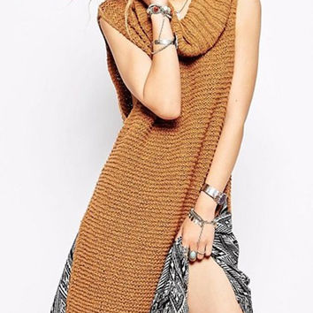 Cowl Neck Sleeveless Slit Sweater