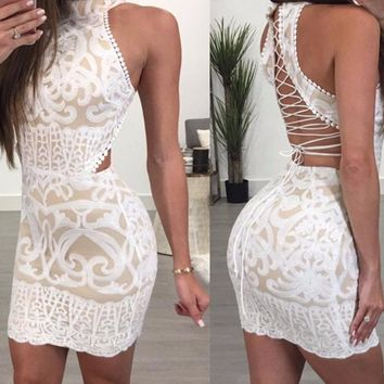 Laken White Lace Detailed Cut-Out Dress