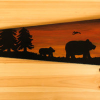 Hand painted Saw with bears, Bear painting on a vintage saw, Craftsman vintage saw, silhouette bear scene, mamma and baby bear silhouette