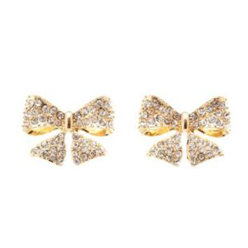 Rhinestone Bow Stud Earrings by Charlotte Russe - Gold