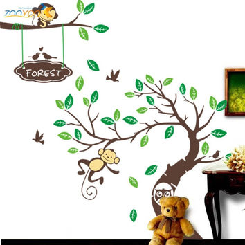 Monkey Tree Wall Art Stickers Kids Decal Removable Decor Decals Home SM6