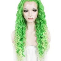 26 inch  Curly Green To Light Pastel Green Ombre Lace Front Synthetic Wig