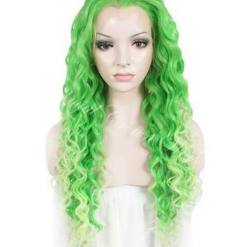 """26"""" Curly Green To Light Pastel Green Ombre Lace Front Synthetic Wig"""