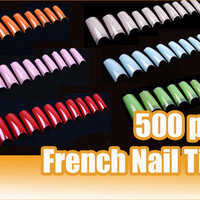 500 French Acrylic Artificial Half False Nail Art Tips