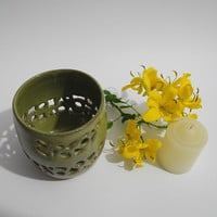 Table Lantern - Tea Candle holder,- Hand Carved Olive Green Pottery