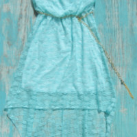 aqua western lace high low dress | Elusive Cowgirl