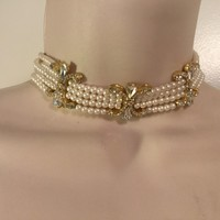Vintage pearl necklace choker/Free Shipping