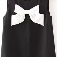 Black Round Neckline Tank Top with White Bow Detail
