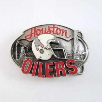 1987 Houston Oilers Belt Buckle, Vintage Football Buckle, NFL Licensed Buckle, Limited Edition, Sports Belt Buckle, Men's Stocking Stuffer