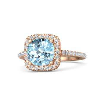 Cushion Aquamarine 18K Rose Gold Ring with White Sapphire & Diamond