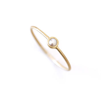 Gold Pearl Ring - 18k Gold Ring