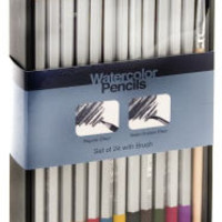 Watercolor Pencils Set of 24 with Brush