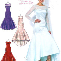 Boned Wedding dress Bridesmaid Wedding party Evening wear sewing pattern McCalls 7320 Sz 6 to 14 UNCUT