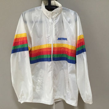 Rainbow Stripe Windbreaker Jacket Waterproof Coat Concealed Hood. Vintage 70s Hooded Windbreaker Spectrum Athletic Racerstripe Raincoat M