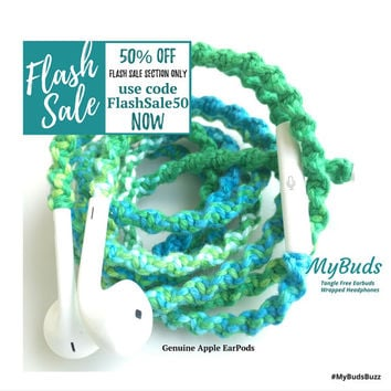 FLASH SALE! iPhone EarPods - Headphones - Wrapped Headphones - iPhone Earphones - Tangle Free Earbuds Gifts for Teen Girls Mint Julep