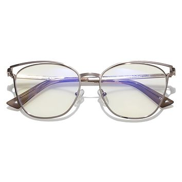 The Book Club - The Dutiful and the Scammed 55mm Rose Gold  / Screen Blue Light Clear +2.00 Lenses