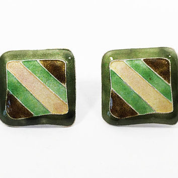 Sterling & Glass Enamel Square Pierced Earrings, Retro Pop Art Studs for Ears, Green with Brown Green Yellow Stripe Jewelry, Wearable Art