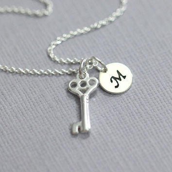 Personalized Tiny Sterling Silver Key Necklace, Sterling Silver Key Pendant on Sterling Silver Necklace Chain