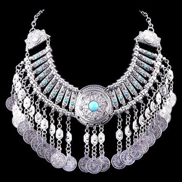 Silver and Turquoise Vintage Tassel Coin Necklace with Gems