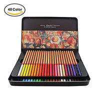 48-color Premium Oil-based Colored Pencils - Huhuhero Professional Quality Drawing Color Pencil Set for Artist Sketch/ Art Writing/ Artwork/ Adult Secret Garden Coloring Book with a Metal Tin Case