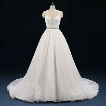 Shinning Backless Wedding Dresses Sequin Ball Gowns Robe