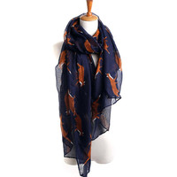 SIF 2016 New Fashion Spring Lady Womens Long Cute Fox Print Scarf Wraps Shawl Print Soft Voile Scarves Hot Sellers DEC 01