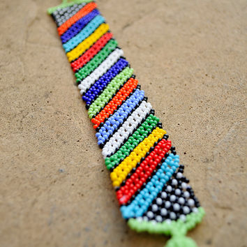 Beaded striped bracelet,tribal bracelet,African bracelet,African bead work,African jewellery,tribal ethnic bracelet,South African beadwork