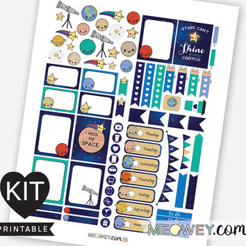 Space Weekly Kit Planner Printables Kawaii Valentines Stickers Erin Condren Cute Planets Universe Earth Moon Digital Download Package Kits