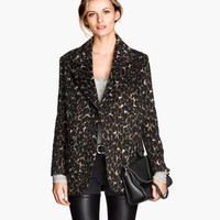 Leopard Long-Sleeve Coat With Collar